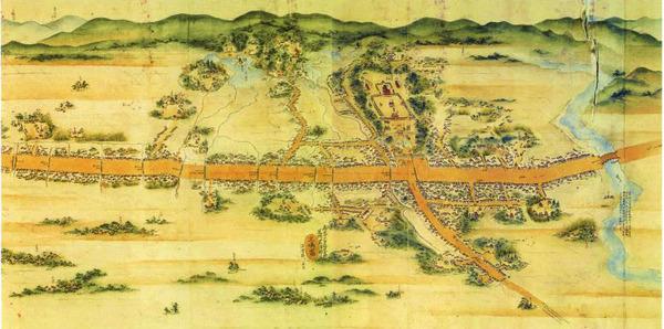江戸時代後期の三島宿絵図(「東海道分間延絵図」より)