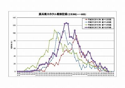 H29源兵衛川ゲンジボタル観察記録