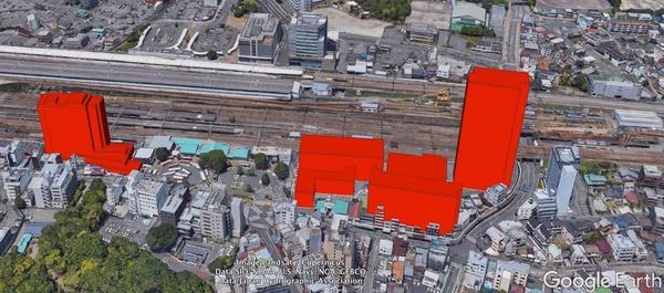 三島駅南口再開発事業・CGイメージ図(模型は事務所に常設展示。見学歓迎)